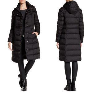 COLE HAAN Hooded Quilted Puffer Coat Black